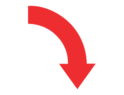 Red Curved Right Down Arrow PNG