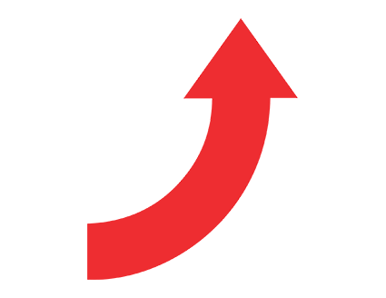 Red Curved Up Arrow Png