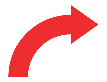 Red Curved Up Right Arrow PNG