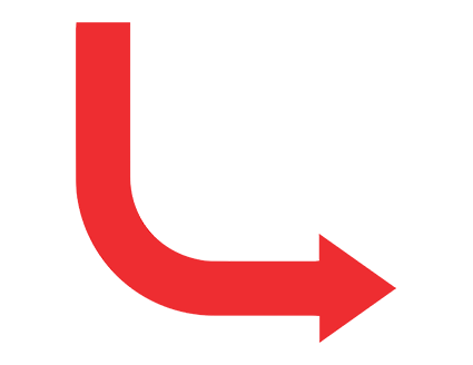 Red Rounded Elbow Down Right Arrow PNG